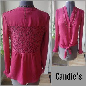 Candie's Back Lace Insert Button Down Blouse